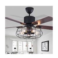 Industrial Retro 52Inch Ceiling Fan Light Semi Flush Mount Chandelier +Remote