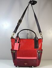 NWT FOSSIL EMERSON RED MULTI PATCHWORK LEATHER CROSSBODY TOTE PURSE ZB6959995