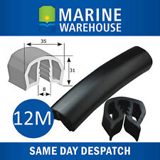 12M 35mm Black Gunwale Rubber - 12 Metres Gunnel Gunwhale Push On PVC 104682B/12