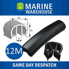 12M 35mm Black Gunwale Rubber - 12 Metres Gunnel Gunwhale Push On PVC 104681B/12