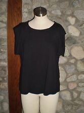VIVIENNE TAM Women's Short Sleeve Knit Top Blouse Black EUC Large