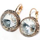 Vintage Big Crystal 15mm Womens Hoop Earrings Dangle Earings Gold Jewelry Ears