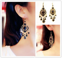Women Black Crystal Tassel Long Drop Dangle Chandelier Ear Hook Earrings Jewelry