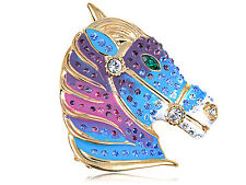 Hot Silver Crystal Elements Blue Purple Paint Mare Horse Head Fashion Pin Brooch
