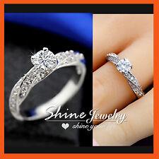 18K WHITE GOLD GF 1.0 Carat DIAMOND INFINITY STRIPE SOLID BRIDAL ENGAGEMENT RING
