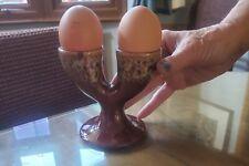 More details for kernewek cornwall handmade  double egg cups x 2 vintage 1969 super glazing