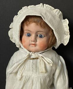 "Antique German (?) 28"" Sonneberg Type Papier-mâché Doll Stuffed Body Glass Eyes"