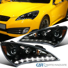 Fit 10-12 Hyundai Genesis Coupe Pearl Black SMD LED Clear Projector Headlights