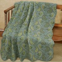 Green Paisley Printed Reversible Cotton Quilted Throw