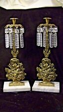 Pair of Brass & Crystal Girandoles or Candle holders, on Marble Base  lot #58