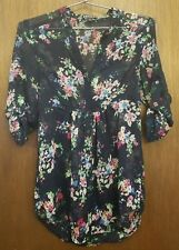 Express - Ladies Sheer Navy Blue Floral Blouse - XS