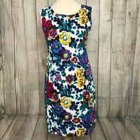 Stunning Bright Floral JOE BROWNS Sleeveless Shift Dress Size 12 VGC