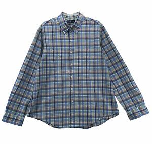 Ralph Lauren Polo Men's Long Sleeve Button Front Shirt Size XL Blue Plaid Cotton