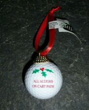 "GOLF BALL Holiday Christmas Tree ORNAMENT ""All Sleighs on Cart Path"" Coarse NEW"