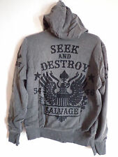 Men's Salvage Brand Clothing dark gray seek & destroy zipper Hoodie jacket SZ XL