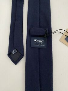 New $225 Drake's London Tie Navy Pure Cashmere Must Have Staple Item!!!!