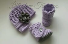 Newborn Baby Girl Fringe Boot Booties and Brim Hat Crochet infant Outfits Gift