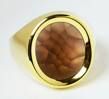 Herrenring Herren Ring 14 Karat 585 Gold 9,13 g Gelbgold Rauchquarz Gr. 63