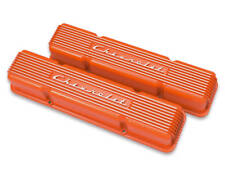 Holley Gm Licensed Valve Covers 241-109 SBC Finned Orange Chevrolet