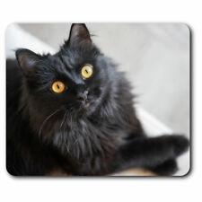 Computer Mouse Mat - Fluffy Black Cat Kitten Pet Office Gift #24572