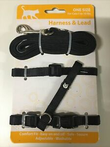 Simply CAT Black Basic Leash & Harness & One Size For Cats 5-10lbs Free Ship New