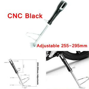 CNC Motorcycle Foot Side Stand Black Length Adjustable Leg Support Kickstand