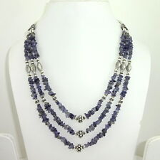 NATURAL BLUE IOLITE CHIPS GEMSTONE BEADED BEAUTIFUL CHARMING NECKLACE 52 GRAMS