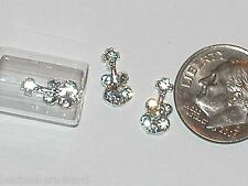2pc Glass miniature dollhouse tiny little crystal Guitars floating flat backs