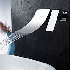 Modern Bathroom Wall Mounted Waterfall Vessel Sink Faucet Chrome Single Handle