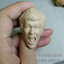 1/6 scale blank Head Sculpt Bruce Lee angry face The Big Boss unpainted