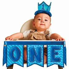 Boys Baby Boy Number One First 1st Birthday Blue High Chair Decor Bunting ONE BN