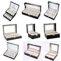 NEW Leather Watch Display Box Slot Organizer Glass Top Jewelry Case Storage Xmas