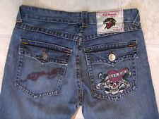 Men's Jeans Ed Hardy Tattoo Wear Jeans Size 33 waist 34 Leg Used Good