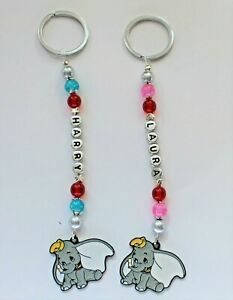 Adorable personalised Dumbo keyring / Bag Charm ( you chose a name), 2 designs.