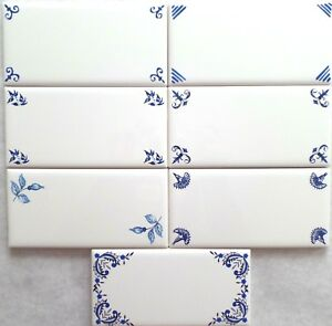 "One Blue Delft or Blue Willow Design Corner 3"" x 6"" Ceramic Border Tile You Pick"