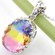 Hot Sales Oval Style Shiny BI-COLORED Tourmaline Gems Platinum Holiday Pendants