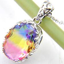Oval Cut Jewelry Bi-Color Tourmaline Gemstone Handmade Silver Pendant Necklace