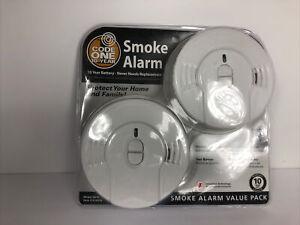 2 Pack Code One Kidde Smoke Alarm Detector 10 Year Lithium Battery