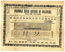 Pokomoke River Delaware 1845 Mailed Lottery Drawing Results Broadside Providence