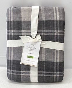"NEW Pottery Barn Turner Plaid Print QUEEN Bed Skirt w/14"" Drop~Gray Multi"