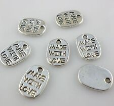 120/1000pcs Tibetan silver Small tag made with love Charms Pendants Beads 8*11mm