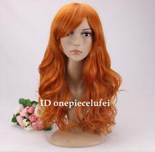Orange Long Curly Wavy Cosplay wig +a wig cap