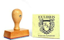 EX LIBRIS Stempel Holzstempel INITIALIEN NAMEN Motivstempel Bücherstempel 4x5 cm