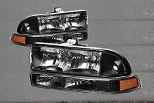 98-04 Chevy S-10 98-04 Blazer Euro Clear Black Housing Headlights + Bumper Light