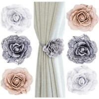 Magnetic Buckle Rose Flower Tie Backs Holdbacks For Voile & Net Curtain Panels