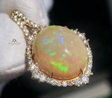 Opal Pendant Necklace Gold Diamond 14K Natural GIA Certif 14.32CTW RETAIL $13800