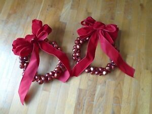 Two 18-Inch Martha Stewart Red Metal Bellswith Ribbons Indoor Outdoor Wreath