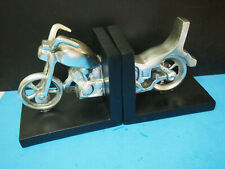 Motorcycle Wood & Metal Book Ends 2004 Heavy Desk Decor MSRP $89.99