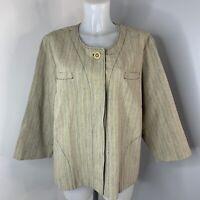 MARINA RINALDI • Beige Stripe Cotton Linen Blend Jacket • Size XL