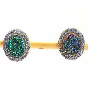 Titanium Druzy, White Topaz Golden Silver Fashion Jewelry Earring Stnd. SE8631